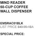 Mind Reader 50-cup Coffee Wall Dispenser